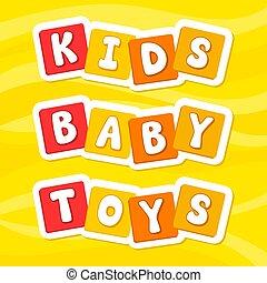 alphabet., ilustração, letters., toys., vetorial, caricatura, kids., baby.