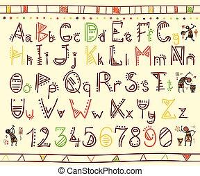 Alphabet in african ethnic style