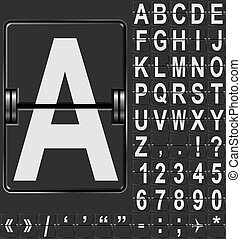 Alphabet in airport arrival and departure display style...