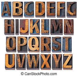 alphabet in antique wood type