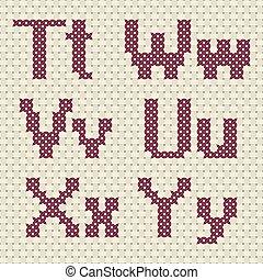 Alphabet in cross stitch pattern.