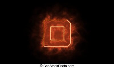 Alphabet in flames - letter D on fire - drawn with laser ...