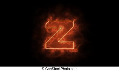 Alphabet in flames - letter Z on fire - drawn with laser beam on black background