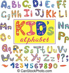 Alphabet in kid style. Vector with letters. Hand drawn font