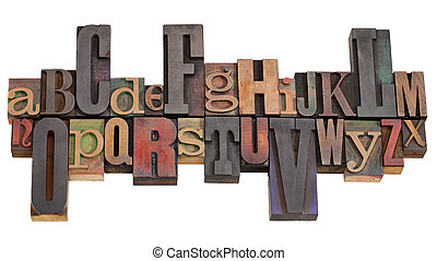 alphabet in letterpress printing blocks