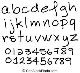Alphabet in lower case black ink letters