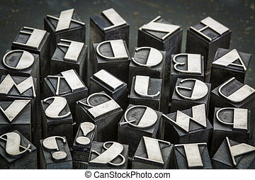 alphabet in metal type