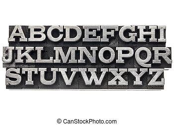 alphabet in metal type