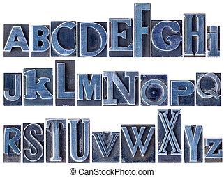 alphabet in mixed letterpress metal type