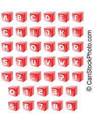 Alphabet in red cube