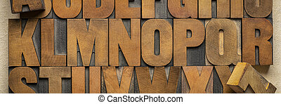 alphabet in vintage letterpress wood type printing blocks