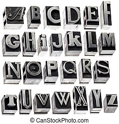 alphabet in vintage metal type