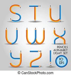 Alphabet in wooden pencil style - Alphabet in wooden slim...