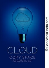 Alphabet Incandescent light bulb switch off set Cloud disconnect concept, illustration isolated in blue gradient background