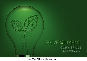 Alphabet Incandescent light bulb switch off set Environment concept, illustration isolated in green gradient background