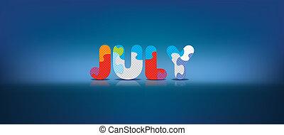 alphabet, juillet, puzzle, écrit