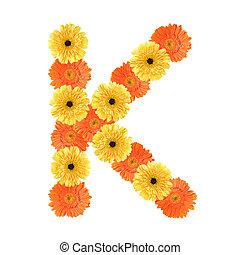 Alphabet K created by flower
