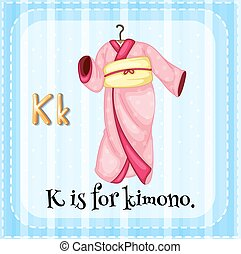 Alphabet K - Flashcard letter k is for kimono
