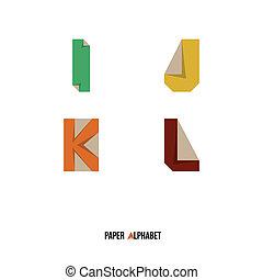 alphabet, k, j, -, l, papier
