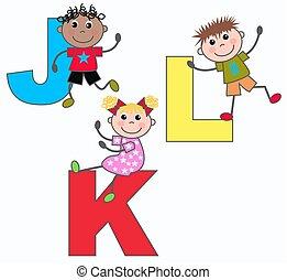 alphabet, k, j, lettres, l