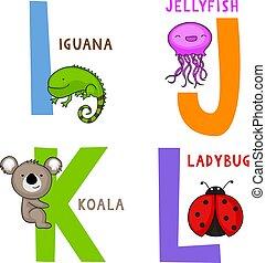alphabet, k, l, j, je, animal