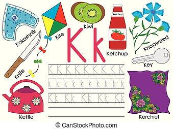 alphabet., k., practice., schrijvende brief, engelse , children., opleiding