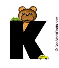 alphabet, k, teddy, conduite, voitures