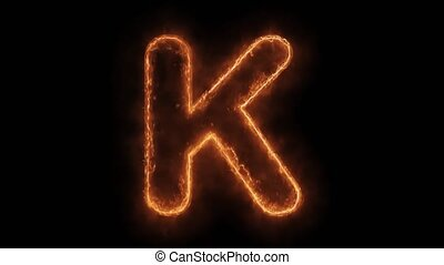 Alphabet K Word Hot Animated Burning Realistic Fire Flame ...