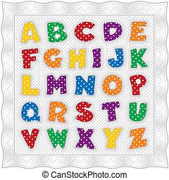 alphabet, kattun, steppdecke, polka- punkte