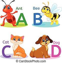 Alphabet kids animals ABCD - ABCD Alphabet wildlife. Ant,...