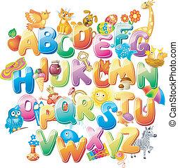 alphabet, kinder, bilder