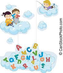 alphabet, kinder, wolkenhimmel, fischerei, abbildung