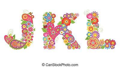 alphabet, l, k, j, lettre, floral