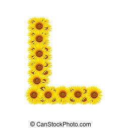 alphabet L , sunflower