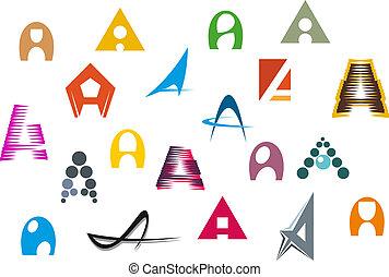 Alphabet letter A - Set of alphabet symbols and elements of ...