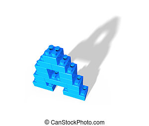 Alphabet letter A shape of stack blocks