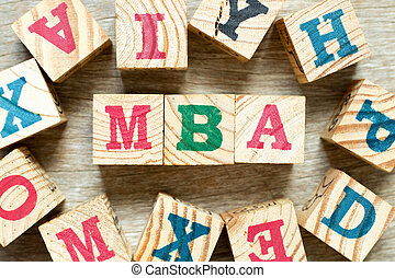 Alphabet letter block in word MBA (Abbreviation of master of business administration) with another on wood background