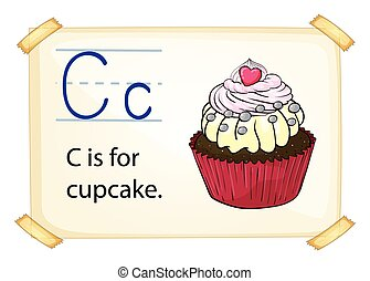Alphabet letter C - Literacy card showing the letter C with...