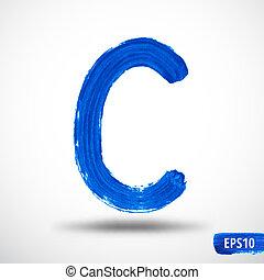 Alphabet Letter C. Watercolor Alphabet. Vector Background