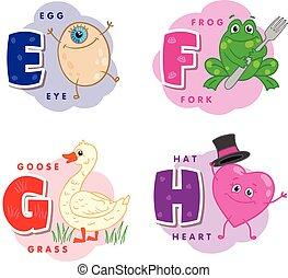Alphabet letter E F G H an egg, frog, goose, heart