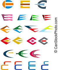 Alphabet letter E - Set of alphabet symbols and elements of ...