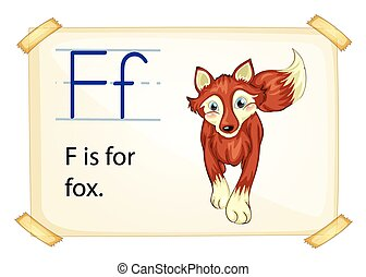 Alphabet letter F - Literacy card showing the letter F with...