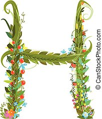 Alphabet letter H elegant flower blooming botanical sign -...