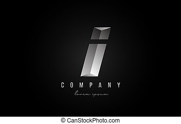 alphabet letter I logo icon in in grey silver color. Creative design for business and company with 3d styling