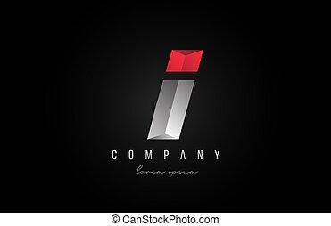 alphabet letter I logo icon in in red grey silver color. Creative design for business and company with 3d styling