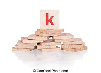 Alphabet - abstract of vintage wooden blocks - letter K
