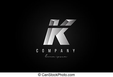 alphabet letter K logo icon in in grey silver color. Creative design for business and company with 3d styling