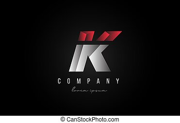 alphabet letter K logo icon in in red grey silver color. Creative design for business and company with 3d styling