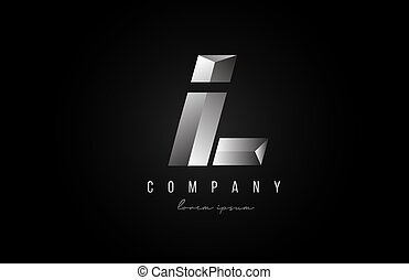 alphabet letter L logo icon in in grey silver color. Creative design for business and company with 3d styling
