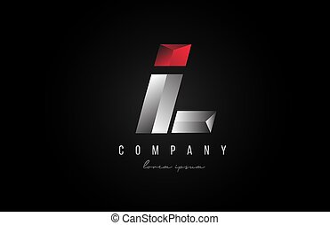 alphabet letter L logo icon in in red grey silver color. Creative design for business and company with 3d styling